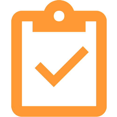 A icon of a clipboard with a checkmark