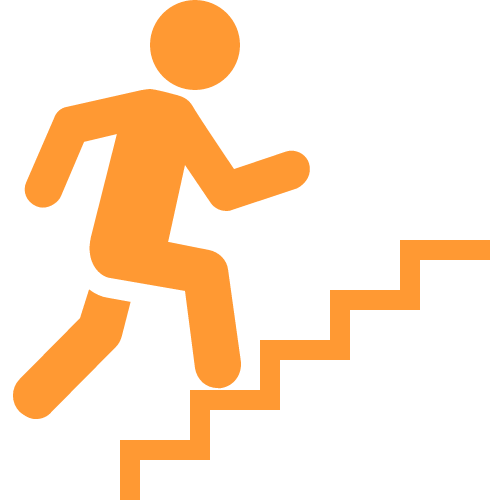 A person walking up steps icon